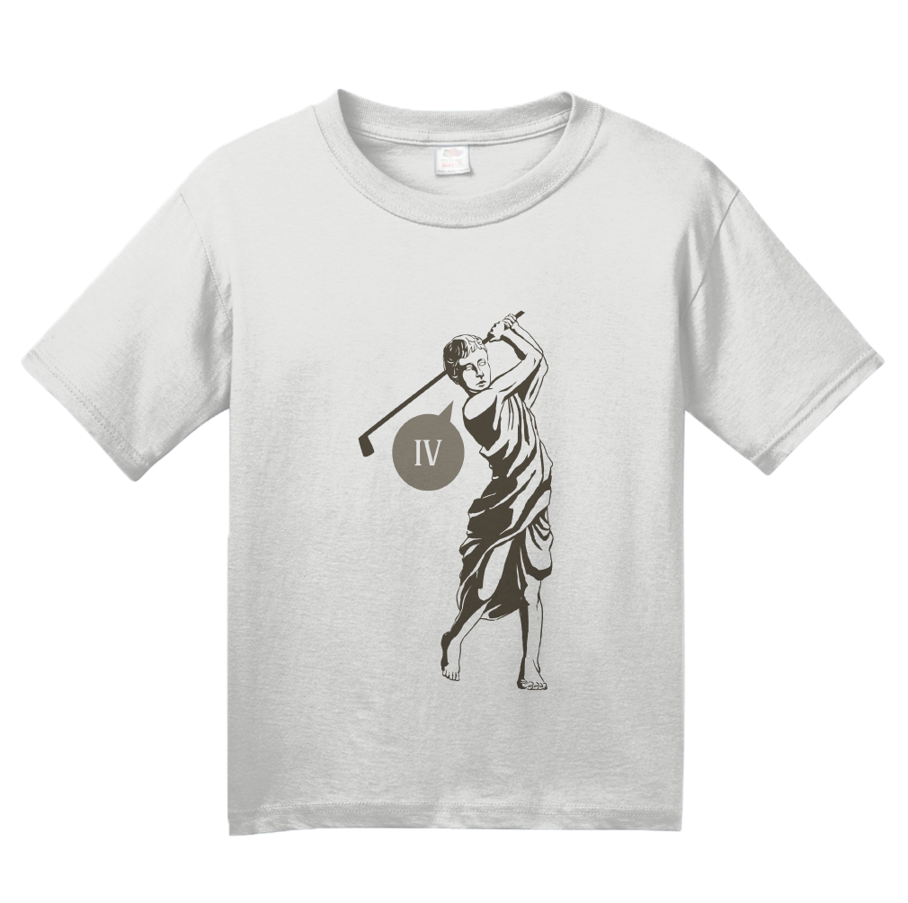 Youth White Four! (Iv!) Funny Roman Golfer - Golf Pun Ancient Rome Humor T-shirt