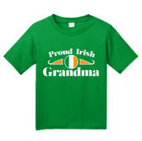 Youth Green Proud Irish Grandma Shield - Irish Pride Grandmother Heritage T-shirt