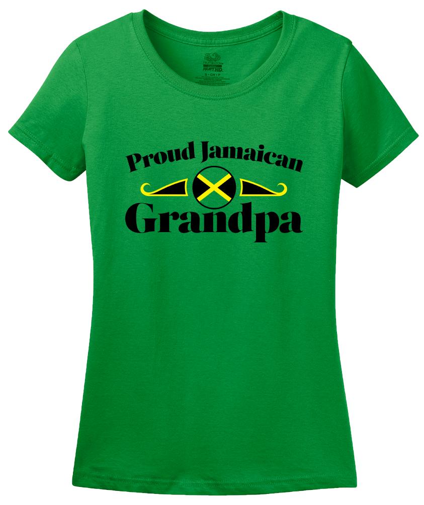 Ladies Green Proud Jamaican Grandpa - Jamaican Pride Grandpa Father's Day T-shirt