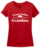 Ladies Red Proud Polish Grandma - Polish Pride Heritage Grandma Babcia T-shirt