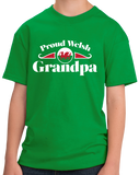 Youth Green Proud Welsh Grandpa - Wales Pride Taid Tad-Cu Grandpa Gift T-shirt
