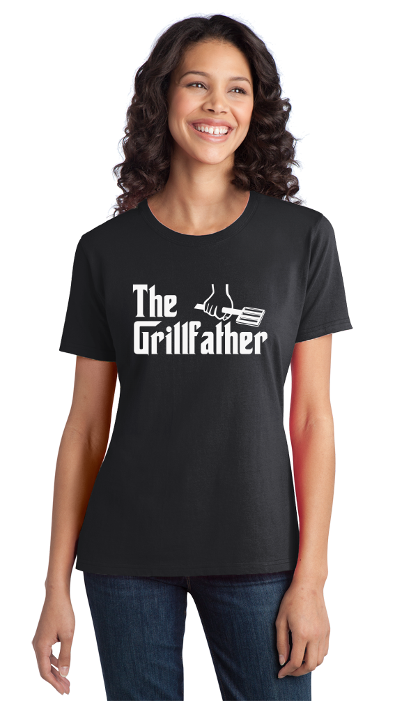 Ladies Black THE GRILLFATHER T-shirt