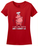 Ladies Red I Like Pig Butts And I Cannot Lie - BBQ Grilling Humor Pun Funny T-shirt
