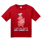 Youth Red I Like Pig Butts And I Cannot Lie - BBQ Grilling Humor Pun Funny T-shirt
