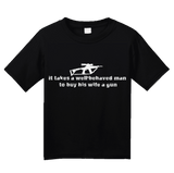 Youth Black Takes A Well-Behaved Man To Buy Wife Gun - Gun Lover Wife Funny T-shirt