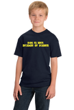 Youth Navy Dog Is Nice, Beware Of Owner - Dog Owner Gun Joke 2nd Ammendment T-shirt