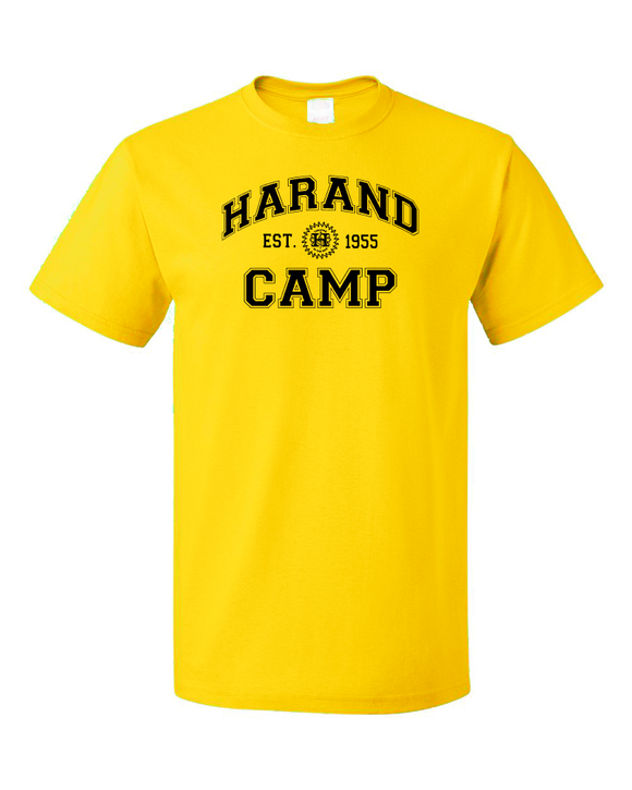 Standard Yellow Harand Theatre Camp Collegiate Style Navy Print T-shirt