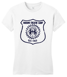 Girly White Harand Theatre Camp - Full Chest Navy Shield Logo T-shirt