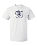 Standard White Harand Theatre Camp - Full Chest Navy Shield Logo T-shirt