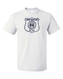 Unisex White Harand Theatre Camp - Full Chest Navy Shield Logo T-shirt