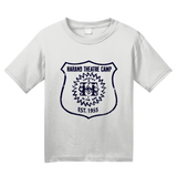 Youth White Harand Theatre Camp - Full Chest Navy Shield Logo T-shirt