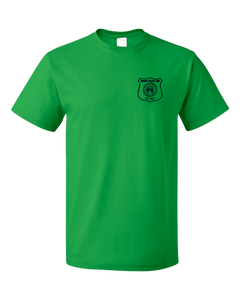 Standard Green Harand Theatre Camp - Left Chest Navy Shield Logo T-shirt