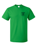 Unisex Green Harand Theatre Camp - Left Chest Navy Shield Logo T-shirt