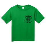 Youth Green Harand Theatre Camp - Left Chest Navy Shield Logo T-shirt