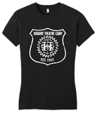 Girly Black Harand Theatre Camp - Full Chest White Shield Logo T-shirt