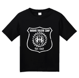 Youth Black Harand Theatre Camp - Full Chest White Shield Logo T-shirt