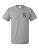 Unisex Grey Harand Theatre Camp - Sun Logo Left Chest Royal Print T-shirt