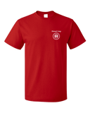Unisex Red Harand Theatre Camp - Sun Logo Left Chest White Print T-shirt