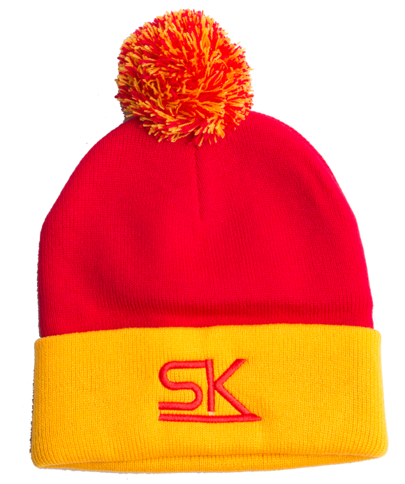 Team StarKid - Red and Gold Winter Pom Hat