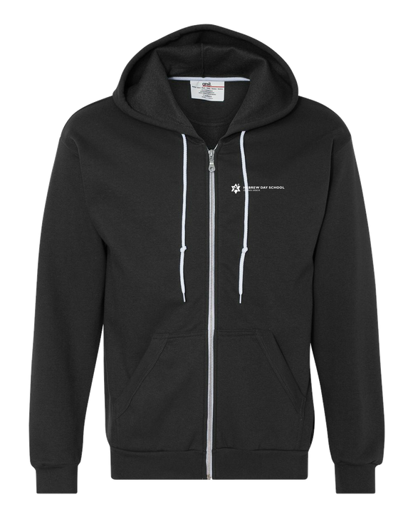 Zip Hoodie Black Hebrew Day School White Logo Zip-Hood
