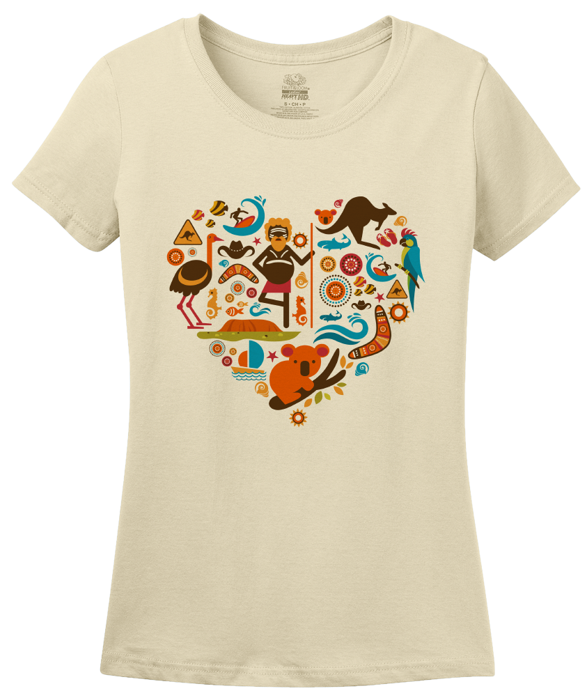 Ladies Natural I Heart Australia - Aussie Love Koala Cute Animals Symbols T-shirt