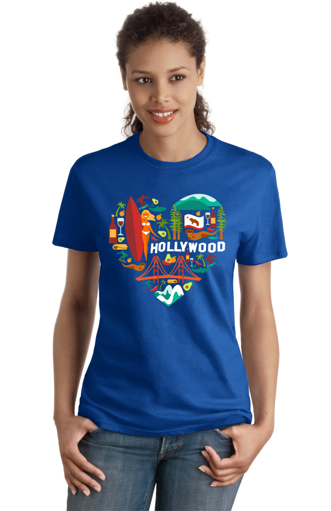 Ladies Royal California Icon Heart - Cali Love Cute Culture Symbols Pride T-shirt
