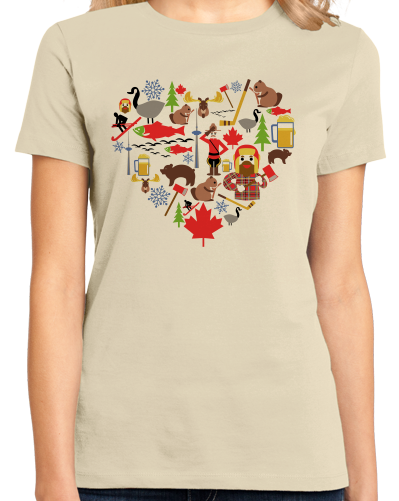 Ladies Natural Canada Icon Heart - Canadian Love Heritage Cute Culture Symbols T-shirt