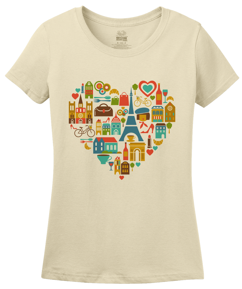 Ladies Natural I Love France - Francophile French Culture Symbols Pride Cute T-shirt