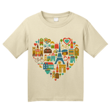Youth Natural I Love France - Francophile French Culture Symbols Pride Cute T-shirt