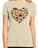 Ladies Natural Germany Icon Heart - German Love Pride Heritage Icons Cute Fun T-shirt