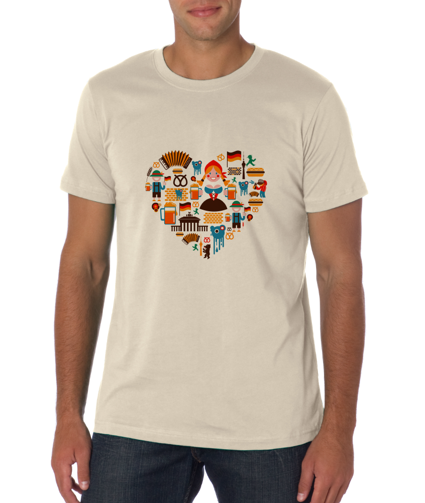 Standard Natural Germany Icon Heart - German Love Pride Heritage Icons Cute Fun T-shirt