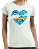 Ladies White Greece Icon Heart - Greek Love Heritage Pride Culture Icons Cute T-shirt