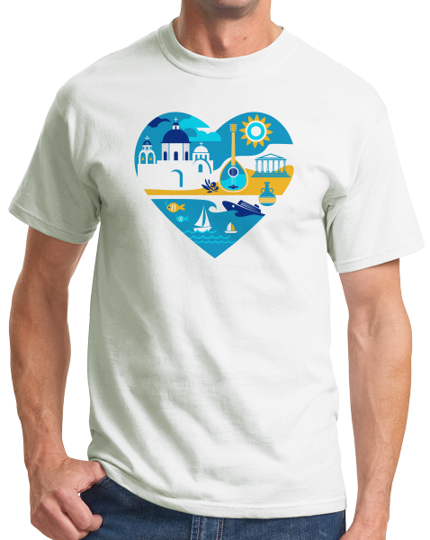 Standard White Greece Icon Heart - Greek Love Heritage Pride Culture Icons Cute T-shirt