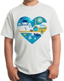 Youth White Greece Icon Heart - Greek Love Heritage Pride Culture Icons Cute T-shirt