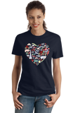 Ladies Navy Indiana Icon Heart - Indiana Love Pride Culture Symbols Cute Fun T-shirt