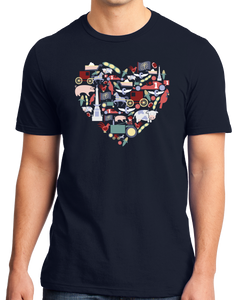 Standard Navy Indiana Icon Heart - Indiana Love Pride Culture Symbols Cute Fun T-shirt