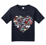 Youth Navy Indiana Icon Heart - Indiana Love Pride Culture Symbols Cute Fun T-shirt