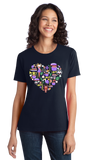 Ladies Navy Louisiana Icon Heart - Lousiana Love Pride Heritage Culture Cute T-shirt