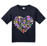 Youth Navy Louisiana Icon Heart - Lousiana Love Pride Heritage Culture Cute T-shirt