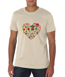 Standard Natural Mexico Icon Heart - Mexico Love Heritage Pride Culture Cute Fun T-shirt