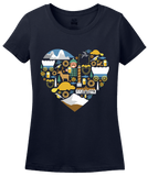 Ladies Navy Oregon Icon Heart - Oregon Love Cute Pride Culture Symbols Fun T-shirt