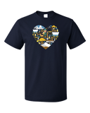 Standard Navy Oregon Icon Heart - Oregon Love Cute Pride Culture Symbols Fun T-shirt