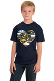 Youth Navy Oregon Icon Heart - Oregon Love Cute Pride Culture Symbols Fun T-shirt