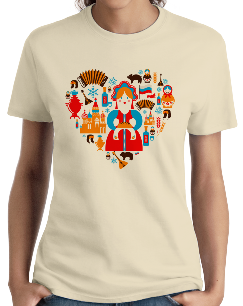 Ladies Natural I Love Russia - Russian Love Heritage Pride Culture Cute Symbols T-shirt