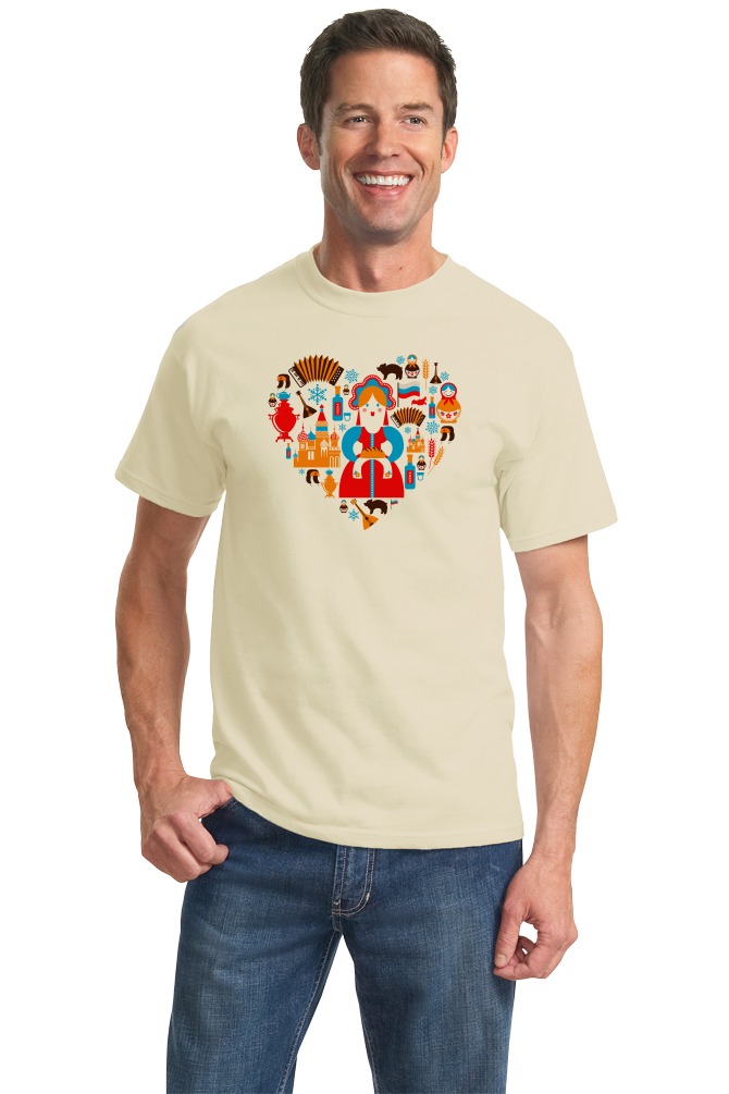 Standard Natural I Love Russia - Russian Love Heritage Pride Culture Cute Symbols T-shirt