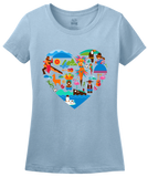 Ladies Light Blue South America Icon Heart - South American Pride Love Culture Fun T-shirt