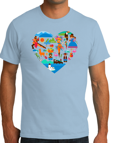 Standard Light Blue South America Icon Heart - South American Pride Love Culture Fun T-shirt