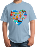 Youth Light Blue South America Icon Heart - South American Pride Love Culture Fun T-shirt