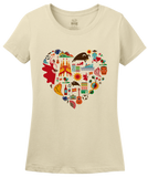 Ladies Natural Spain Icon Heart - Spanish Love Pride Heritage Culture Cute Fun T-shirt