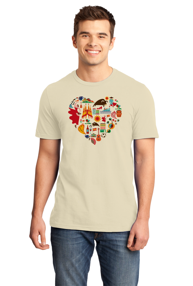 Standard Natural Spain Icon Heart - Spanish Love Pride Heritage Culture Cute Fun T-shirt